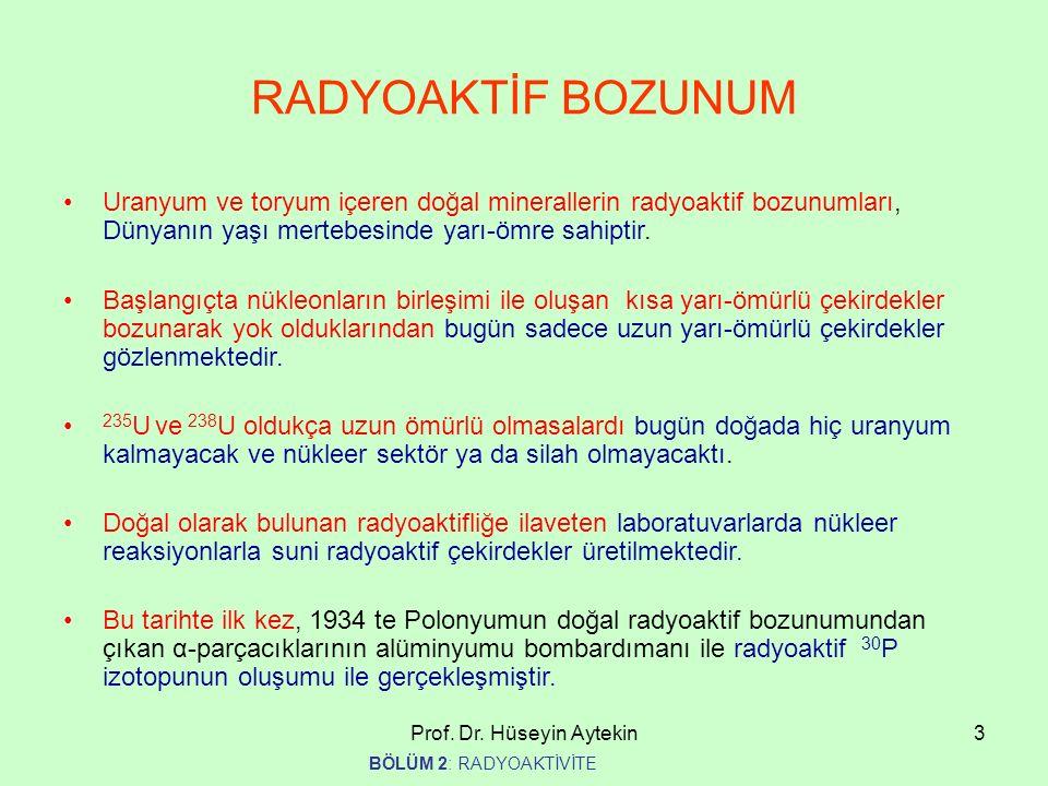 Prof. Dr. Hüseyin Aytekin3 RADYOAKTİF BOZUNUM Uranyum ve toryum içeren doğal minerallerin radyoaktif bozunumları, Dünyanın yaşı mertebesinde yarı-ömre