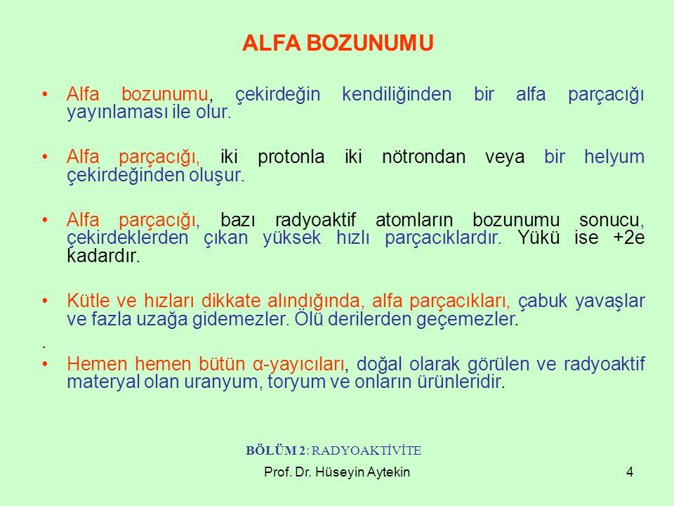 Prof. Dr. Hüseyin Aytekin4 ALFA BOZUNUMU Alfa bozunumu, çekirdeğin kendiliğinden bir alfa parçacığı yayınlaması ile olur. Alfa parçacığı, iki protonla