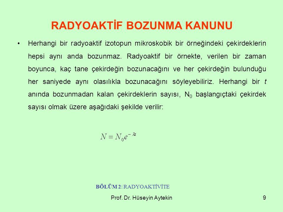 Prof. Dr. Hüseyin Aytekin9 RADYOAKTİF BOZUNMA KANUNU Herhangi bir radyoaktif izotopun mikroskobik bir örneğindeki çekirdeklerin hepsi aynı anda bozunm