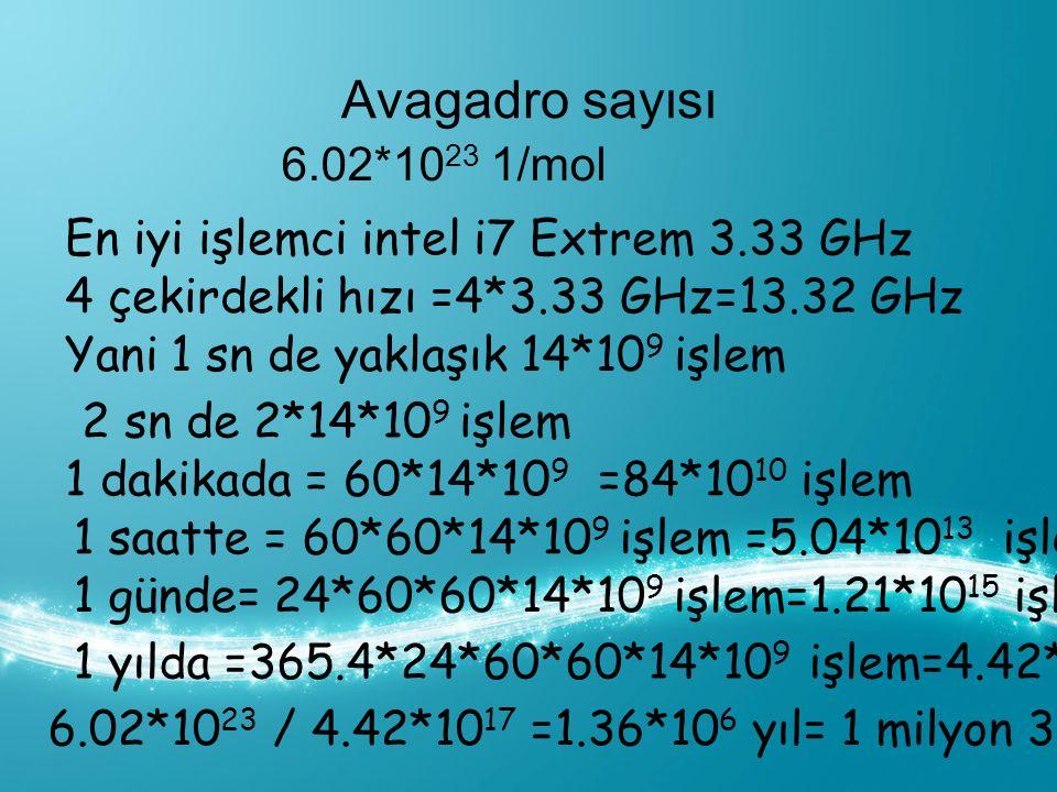Avagadro sayısı 6.02*10 23 1/mol En iyi işlemci intel i7 Extrem 3.33 GHz 4 çekirdekli hızı =4*3.33 GHz=13.32 GHz Yani 1 sn de yaklaşık 14*10 9 işlem 2 sn de 2*14*10 9 işlem 1 dakikada = 60*14*10 9 =84*10 10 işlem 1 saatte = 60*60*14*10 9 işlem =5.04*10 13 işlem 1 yılda =365.4*24*60*60*14*10 9 işlem=4.42*10 17 işlem 1 günde= 24*60*60*14*10 9 işlem=1.21*10 15 işlem 6.02*10 23 / 4.42*10 17 =1.36*10 6 yıl= 1 milyon 360 bin yıl da sayabilir