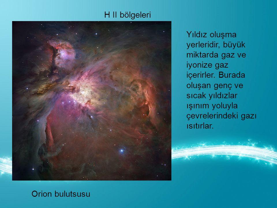 H II bölgeleri Orion bulutsusu Yıldız oluşma yerleridir, büyük miktarda gaz ve iyonize gaz içerirler.