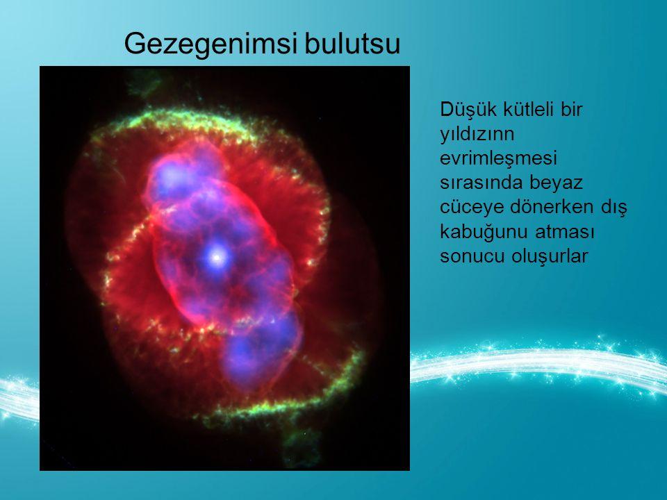 Gezegenimsi bulutsu Düşük kütleli bir yıldızınn evrimleşmesi sırasında beyaz cüceye dönerken dış kabuğunu atması sonucu oluşurlar