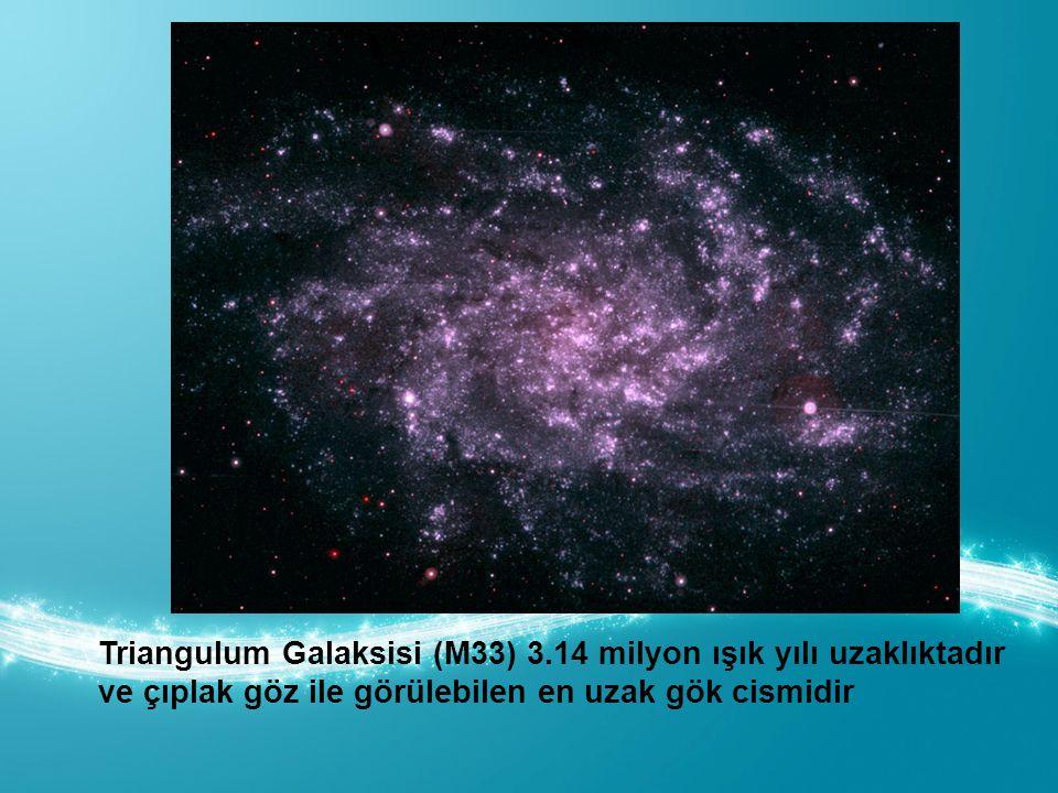 Triangulum Galaksisi (M33) 3.14 milyon ışık yılı uzaklıktadır ve çıplak göz ile görülebilen en uzak gök cismidir