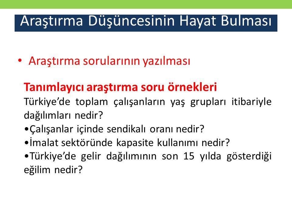 Araştırma Düşüncesinin Hayat Bulması Araştırma sorularının yazılması Tanımlayıcı araştırma soru örnekleri Türkiye'de toplam çalışanların yaş grupları