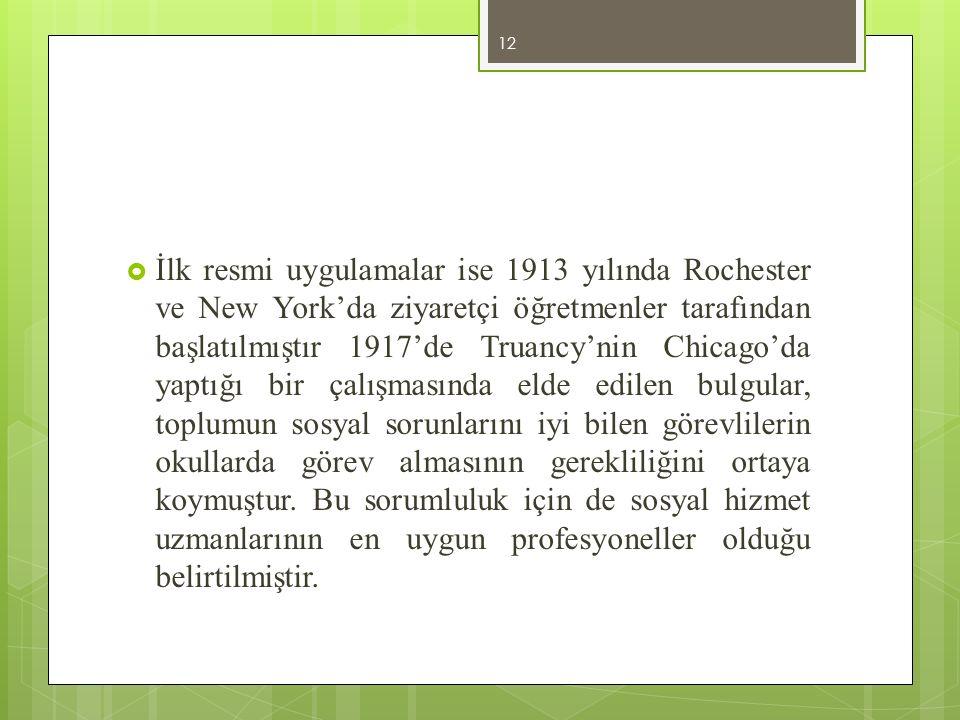  İlk resmi uygulamalar ise 1913 yılında Rochester ve New York'da ziyaretçi öğretmenler tarafından başlatılmıştır 1917'de Truancy'nin Chicago'da yaptı