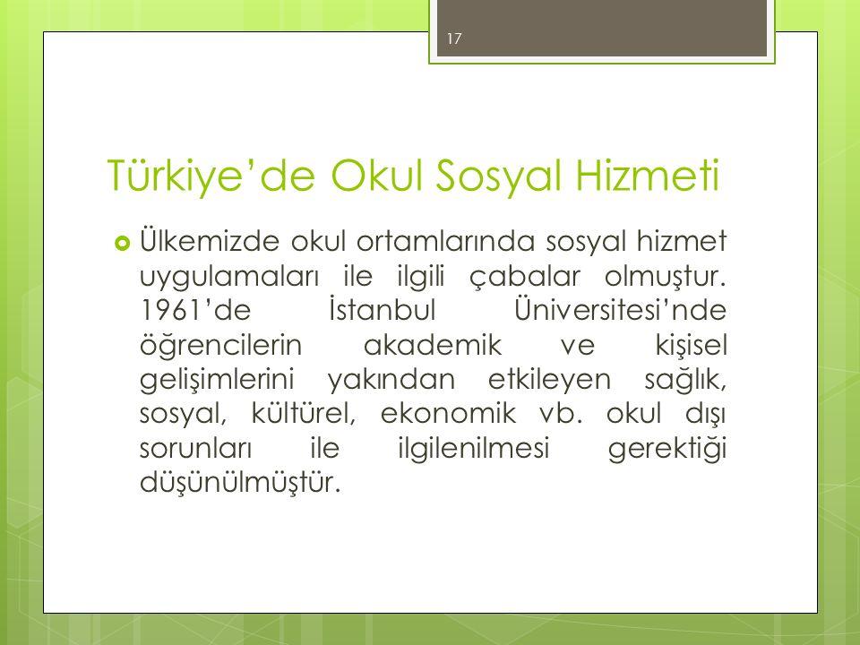 Türkiye'de Okul Sosyal Hizmeti  Ülkemizde okul ortamlarında sosyal hizmet uygulamaları ile ilgili çabalar olmuştur. 1961'de İstanbul Üniversitesi'nde