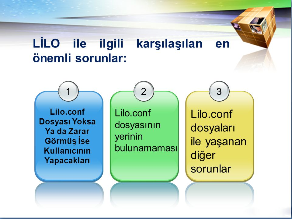 1 Lilo.conf Dosyası Yoksa Ya da Zarar Görmüş İse Kullanıcının Yapacakları 2 Lilo.conf dosyasının yerinin bulunamaması 3 Lilo.conf dosyaları ile yaşanan diğer sorunlar LİLO ile ilgili karşılaşılan en önemli sorunlar: