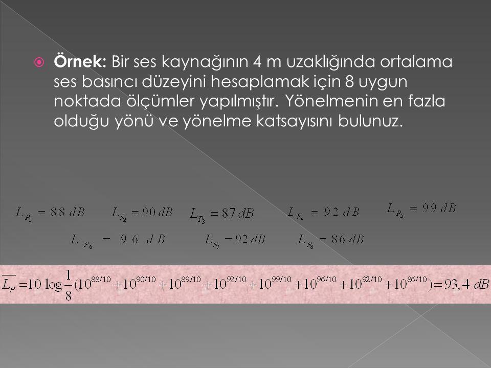  Örnek: Bir ses kaynağının 4 m uzaklığında ortalama ses basıncı düzeyini hesaplamak için 8 uygun noktada ölçümler yapılmıştır.