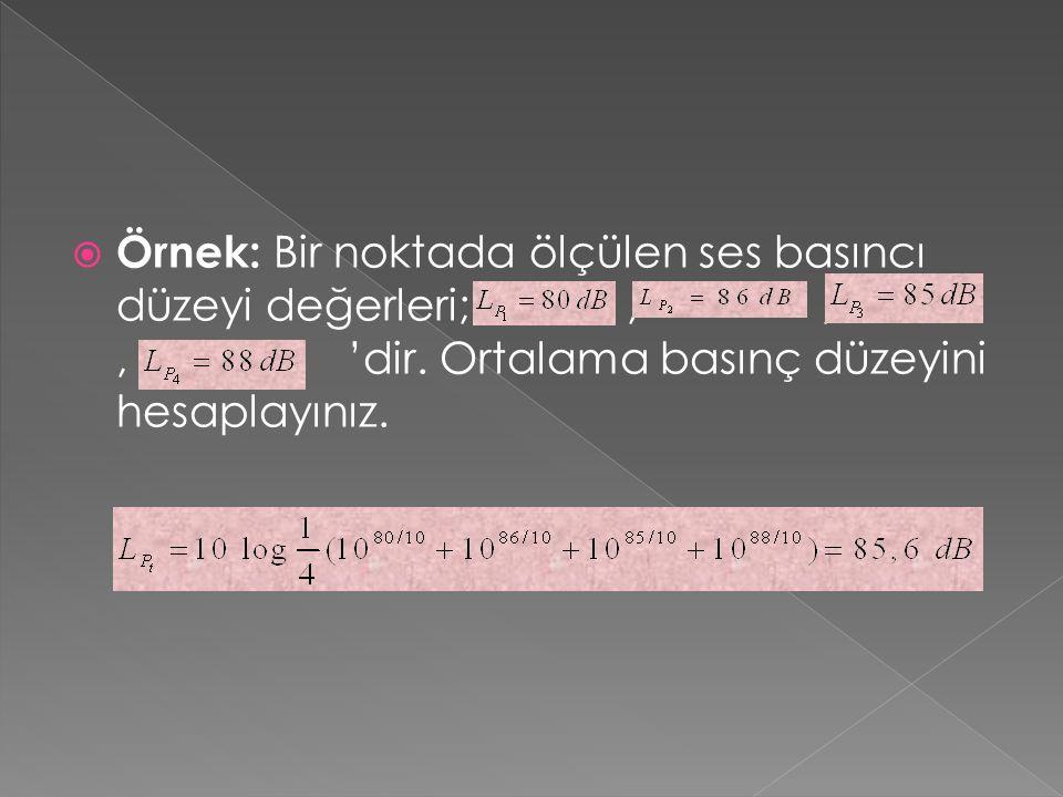 Örnek: Bir noktada ölçülen ses basıncı düzeyi değerleri;,,, 'dir.