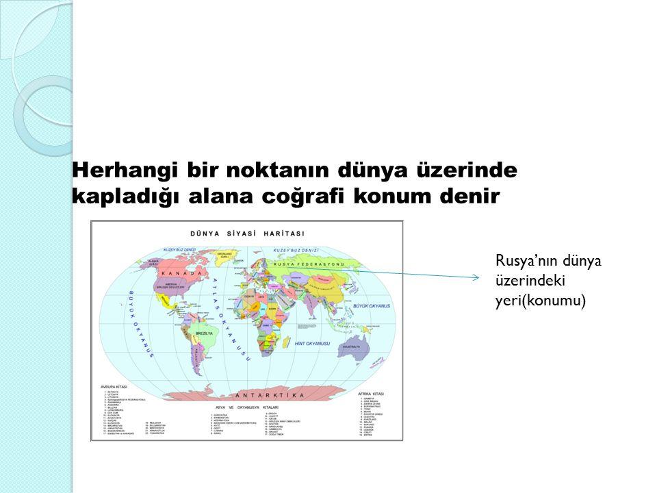Herhangi bir noktanın dünya üzerinde kapladığı alana coğrafi konum denir Rusya'nın dünya üzerindeki yeri(konumu)