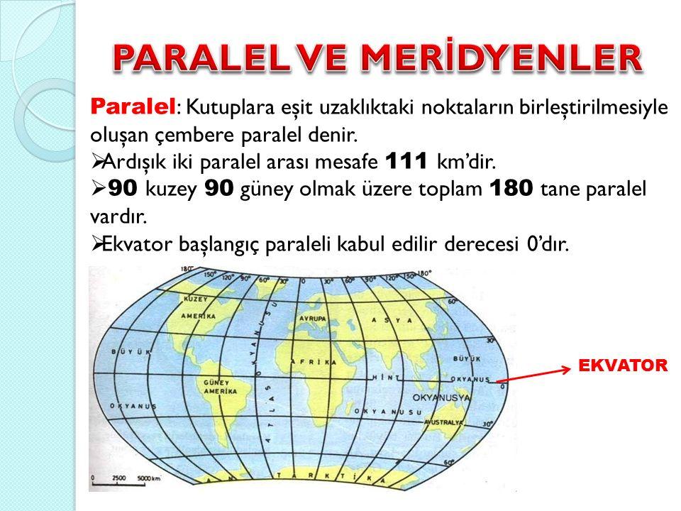 Paralel : Kutuplara eşit uzaklıktaki noktaların birleştirilmesiyle oluşan çembere paralel denir.  Ardışık iki paralel arası mesafe 111 km'dir.  90 k