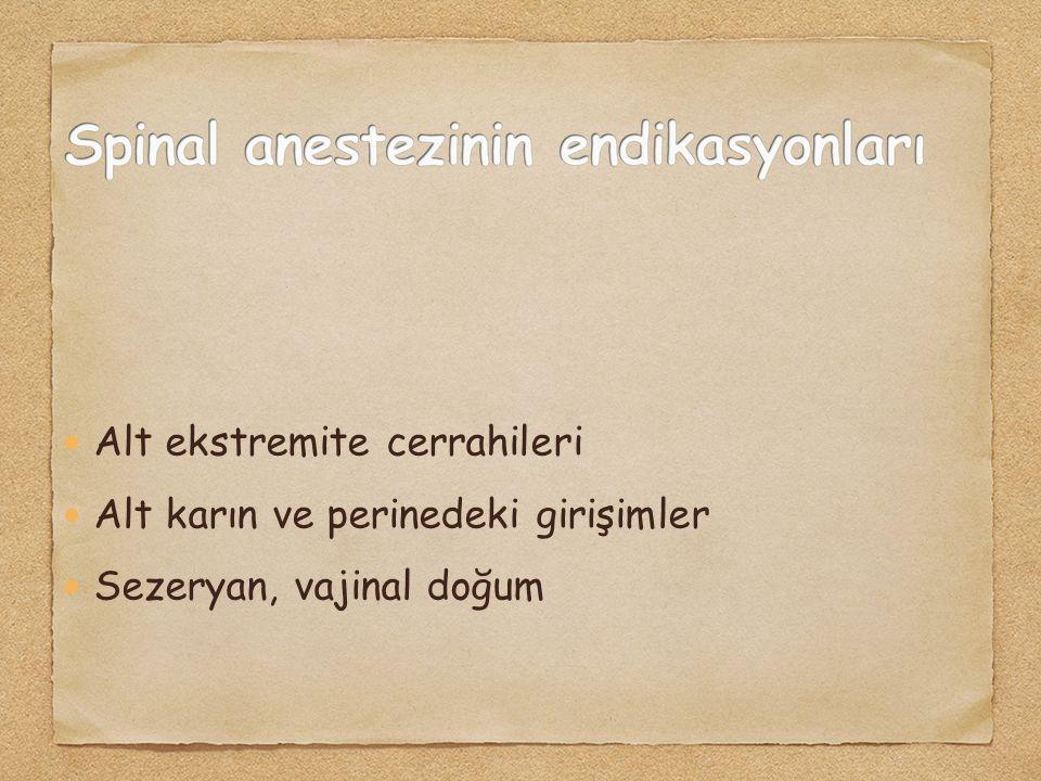 Alt ekstremite cerrahileri Alt karın ve perinedeki girişimler Sezeryan, vajinal doğum