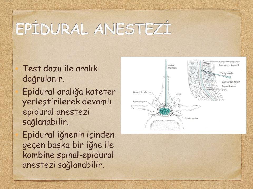 Test dozu ile aralık doğrulanır. Epidural aralığa kateter yerleştirilerek devamlı epidural anestezi sağlanabilir. Epidural iğnenin içinden geçen başka
