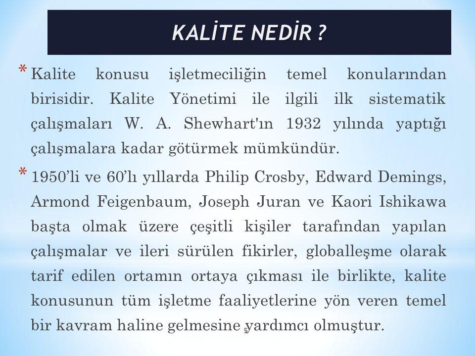 * Kalite konusu işletmeciliğin temel konularından birisidir. Kalite Yönetimi ile ilgili ilk sistematik çalışmaları W. A. Shewhart'ın 1932 yılında yapt