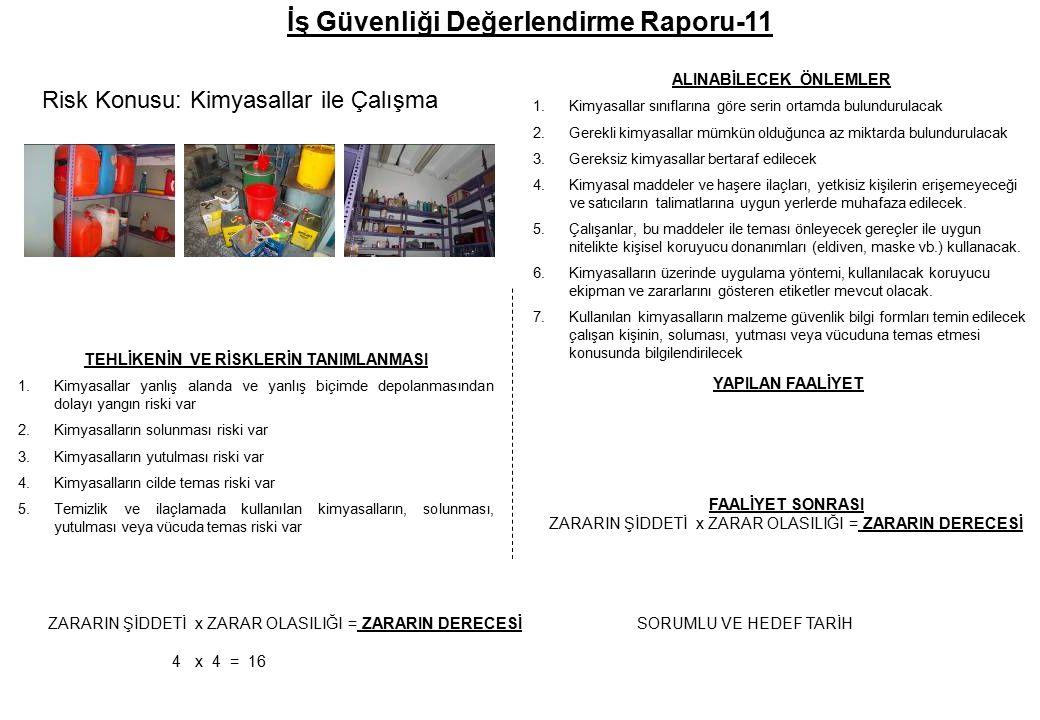 İş Güvenliği Değerlendirme Raporu-11 TEHLİKENİN VE RİSKLERİN TANIMLANMASI 1.Kimyasallar yanlış alanda ve yanlış biçimde depolanmasından dolayı yangın