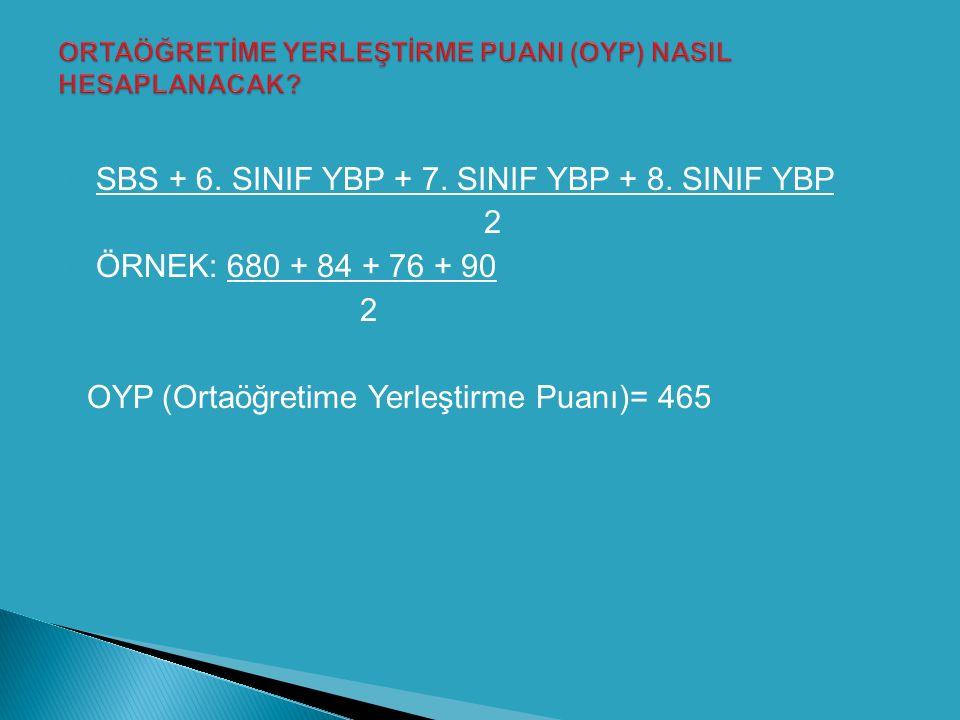 Örnek1:Ali'nin puanları: 6.Sınıf YBP:100 7.Sınıf YBP:100 8.Sınıf YBP:100 SBS Puanı: 700 OYP= (100+100+100+700)/2=1000/2=500 Örnek1:Ayşe'nin puanları: 6.Sınıf YBP:90 7.Sınıf YBP:85 8.Sınıf YBP:75 SBS Puanı: 650 OYP= (90+85+75+650)/2=900/2=450 Örneklerde de görüldüğü gibi OYP'yi bulmak için; Öğrencinin 100 üzerinden hesaplanan; 6,7 ve 8.