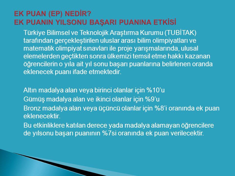  Türkiye Bilimsel ve Teknolojik Araştırma Kurumu (TUBİTAK) tarafından gerçekleştirilen uluslar arası bilim olimpiyatları ve matematik olimpiyat sınav