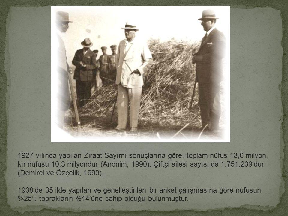 """Tarım sektörü açısından en önemli değişiklik 17 Şubat 1925 tarih ve 552 sayılı kanunla """"aşar vergisi""""nin kaldırılması olmuştur. (Dinler, 1996)."""