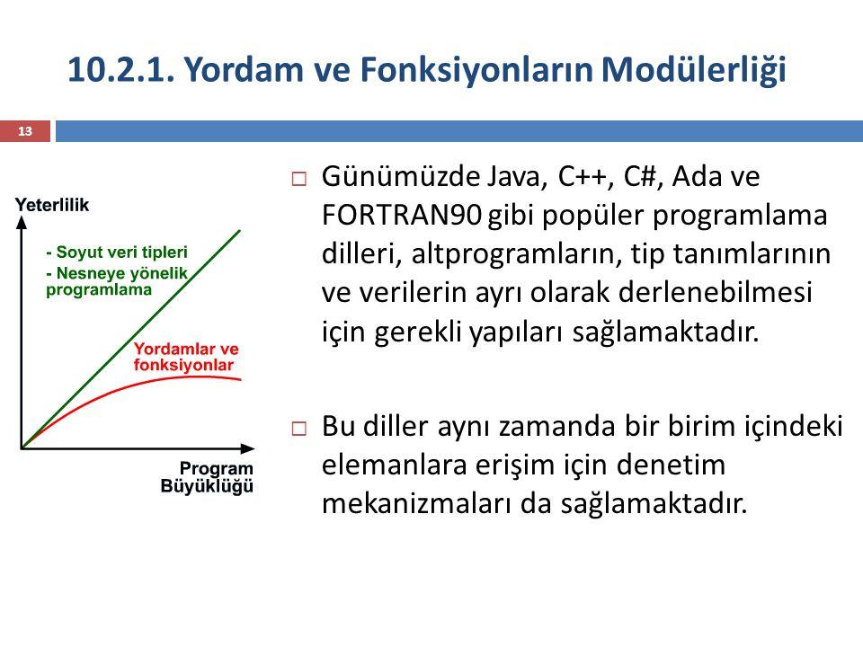 10.2.1. Yordam ve Fonksiyonların Modülerliği 13  Günümüzde Java, C++, C#, Ada ve FORTRAN90 gibi popüler programlama dilleri, altprogramların, tip tan