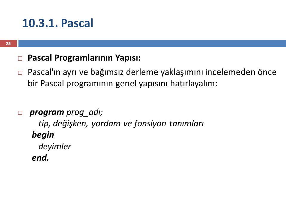 10.3.1. Pascal 25  Pascal Programlarının Yapısı:  Pascal'ın ayrı ve bağımsız derleme yaklaşımını incelemeden önce bir Pascal programının genel yapıs