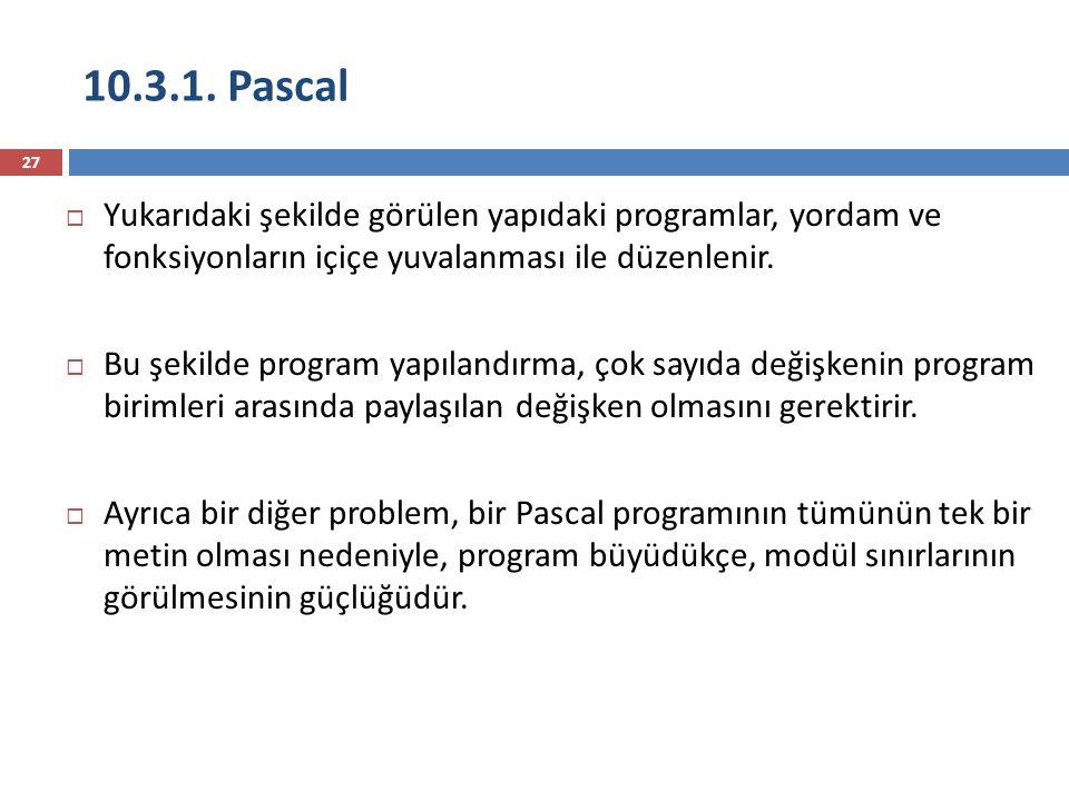 10.3.1. Pascal 27  Yukarıdaki şekilde görülen yapıdaki programlar, yordam ve fonksiyonların içiçe yuvalanması ile düzenlenir.  Bu şekilde program ya