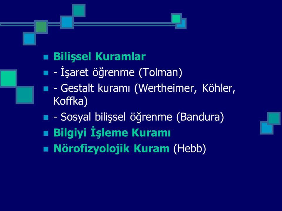 Bilişsel Kuramlar - İşaret öğrenme (Tolman) - Gestalt kuramı (Wertheimer, Köhler, Koffka) - Sosyal bilişsel öğrenme (Bandura) Bilgiyi İşleme Kuramı Nö