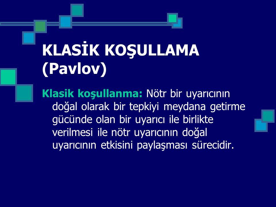 KLASİK KOŞULLAMA (Pavlov) Klasik koşullanma: Nötr bir uyarıcının doğal olarak bir tepkiyi meydana getirme gücünde olan bir uyarıcı ile birlikte verilm