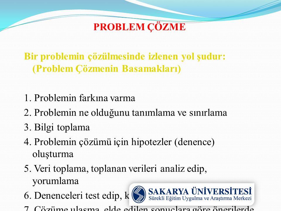 PROBLEM ÇÖZME Bir problemin çözülmesinde izlenen yol şudur: (Problem Çözmenin Basamakları) 1.