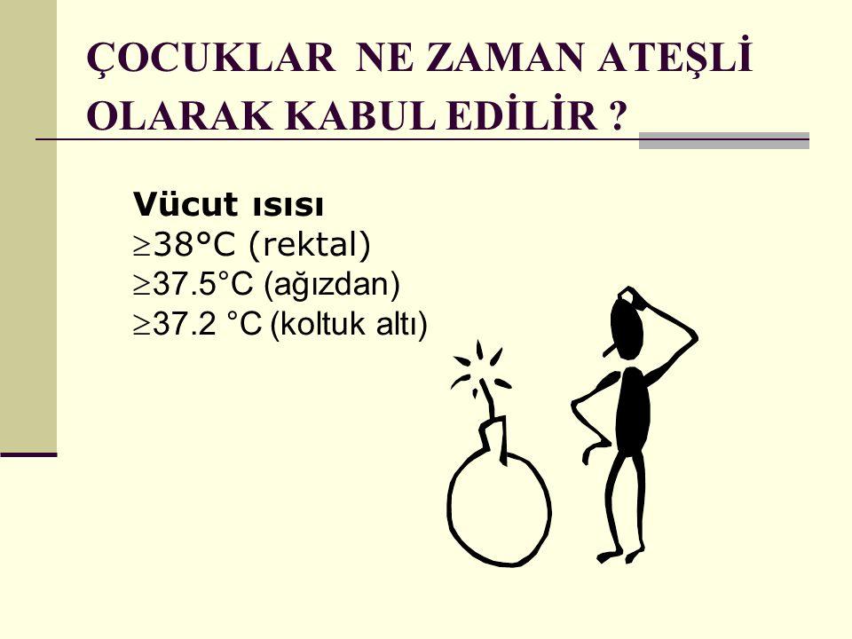 Vücut ısısı 38°C (rektal)  37.5°C (ağızdan)  37.2 °C (koltuk altı) ÇOCUKLAR NE ZAMAN ATEŞLİ OLARAK KABUL EDİLİR ?