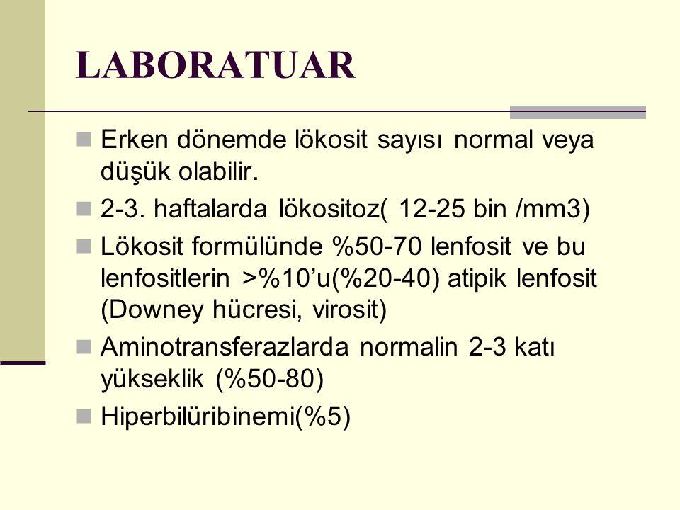 LABORATUAR Erken dönemde lökosit sayısı normal veya düşük olabilir. 2-3. haftalarda lökositoz( 12-25 bin /mm3) Lökosit formülünde %50-70 lenfosit ve b