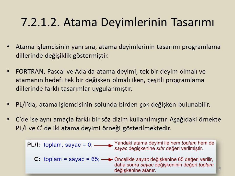 7.2.1.2. Atama Deyimlerinin Tasarımı Atama işlemcisinin yanı sıra, atama deyimlerinin tasarımı programlama dillerinde değişiklik göstermiştir. FORTRAN