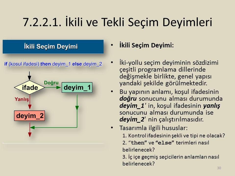 7.2.2.1. İkili ve Tekli Seçim Deyimleri İkili Seçim Deyimi: İki-yollu seçim deyiminin sözdizimi çeşitli programlama dillerinde değişmekle birlikte, ge