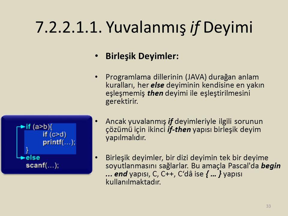 7.2.2.1.1. Yuvalanmış if Deyimi Birleşik Deyimler: Programlama dillerinin (JAVA) durağan anlam kuralları, her else deyiminin kendisine en yakın eşleşm