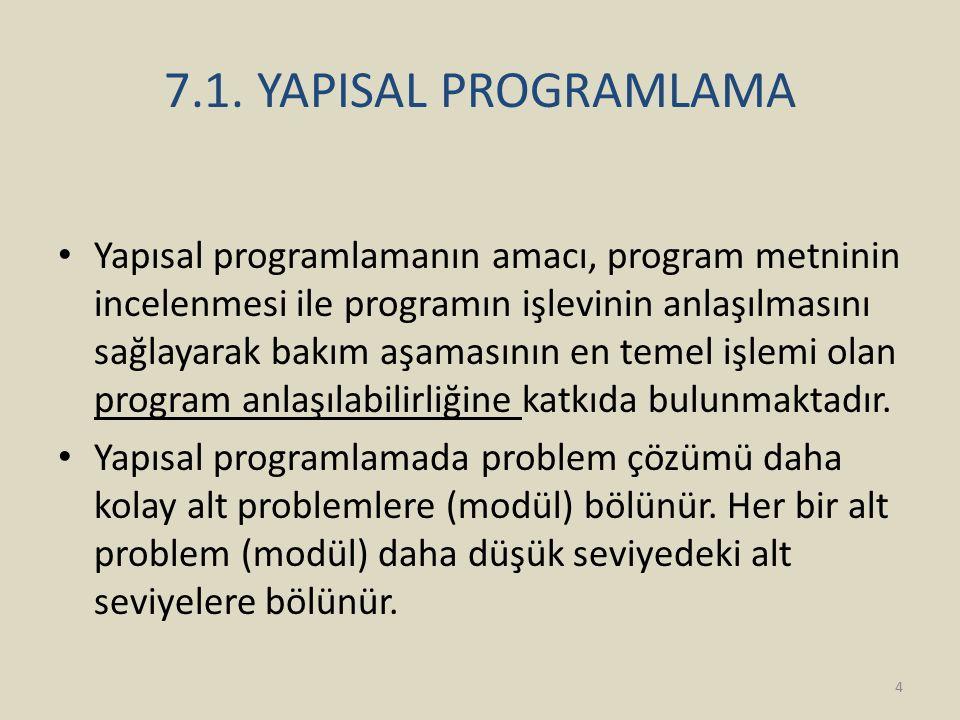 7.1. YAPISAL PROGRAMLAMA Yapısal programlamanın amacı, program metninin incelenmesi ile programın işlevinin anlaşılmasını sağlayarak bakım aşamasının