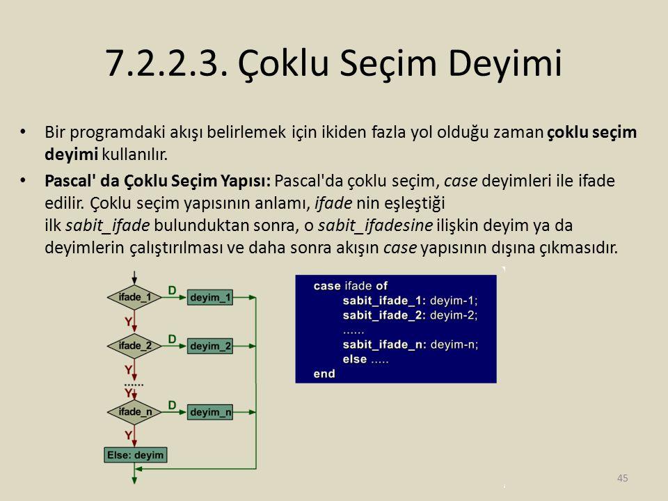7.2.2.3. Çoklu Seçim Deyimi Bir programdaki akışı belirlemek için ikiden fazla yol olduğu zaman çoklu seçim deyimi kullanılır. Pascal' da Çoklu Seçim
