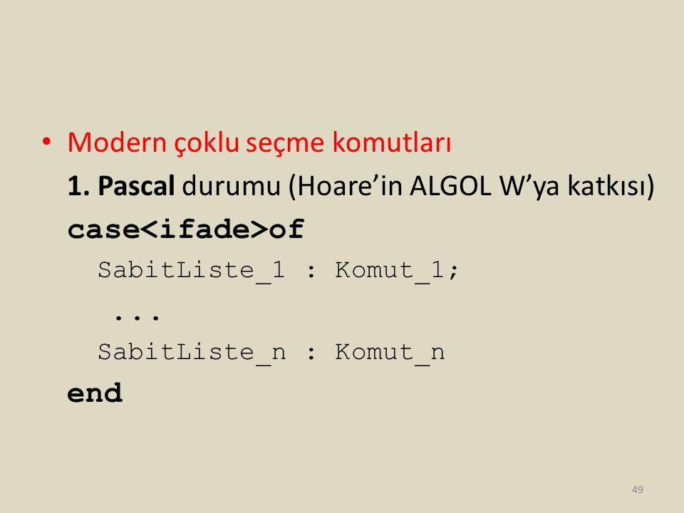 Modern çoklu seçme komutları 1. Pascal durumu (Hoare'in ALGOL W'ya katkısı) case of SabitListe_1 : Komut_1;... SabitListe_n : Komut_n end 49