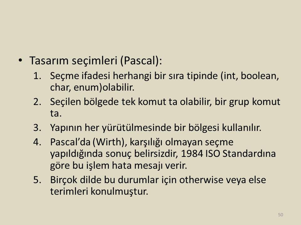 Tasarım seçimleri (Pascal): 1.Seçme ifadesi herhangi bir sıra tipinde (int, boolean, char, enum)olabilir. 2.Seçilen bölgede tek komut ta olabilir, bir