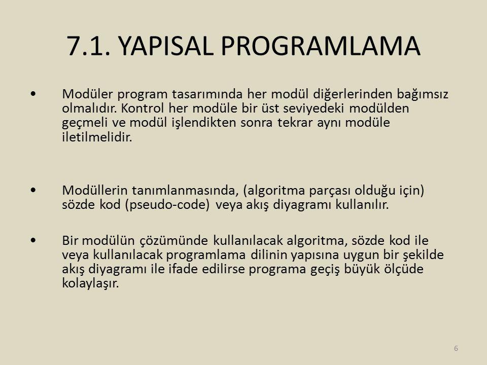 7.1. YAPISAL PROGRAMLAMA Modüler program tasarımında her modül diğerlerinden bağımsız olmalıdır. Kontrol her modüle bir üst seviyedeki modülden geçmel