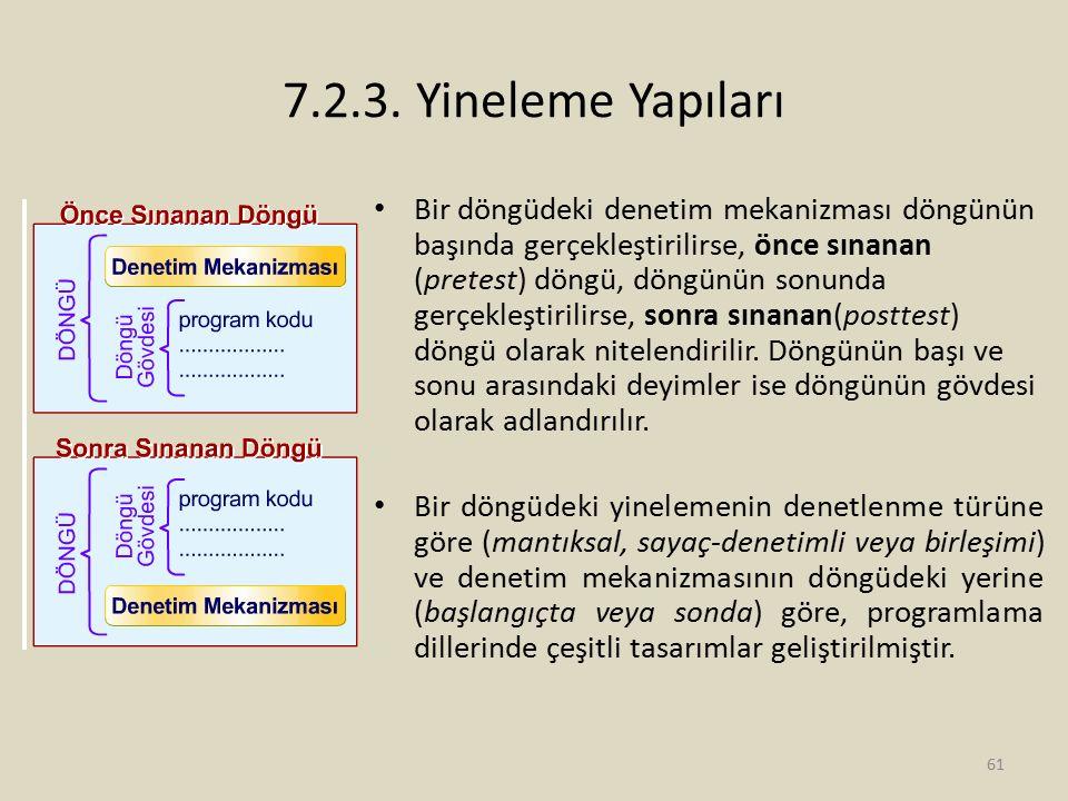 7.2.3. Yineleme Yapıları Bir döngüdeki denetim mekanizması döngünün başında gerçekleştirilirse, önce sınanan (pretest) döngü, döngünün sonunda gerçekl