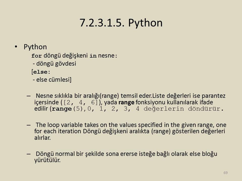 7.2.3.1.5. Python Python for döngü değişkeni in nesne : - döngü gövdesi [ else: - else cümlesi] – Nesne sıklıkla bir aralığı(range) temsil eder.Liste