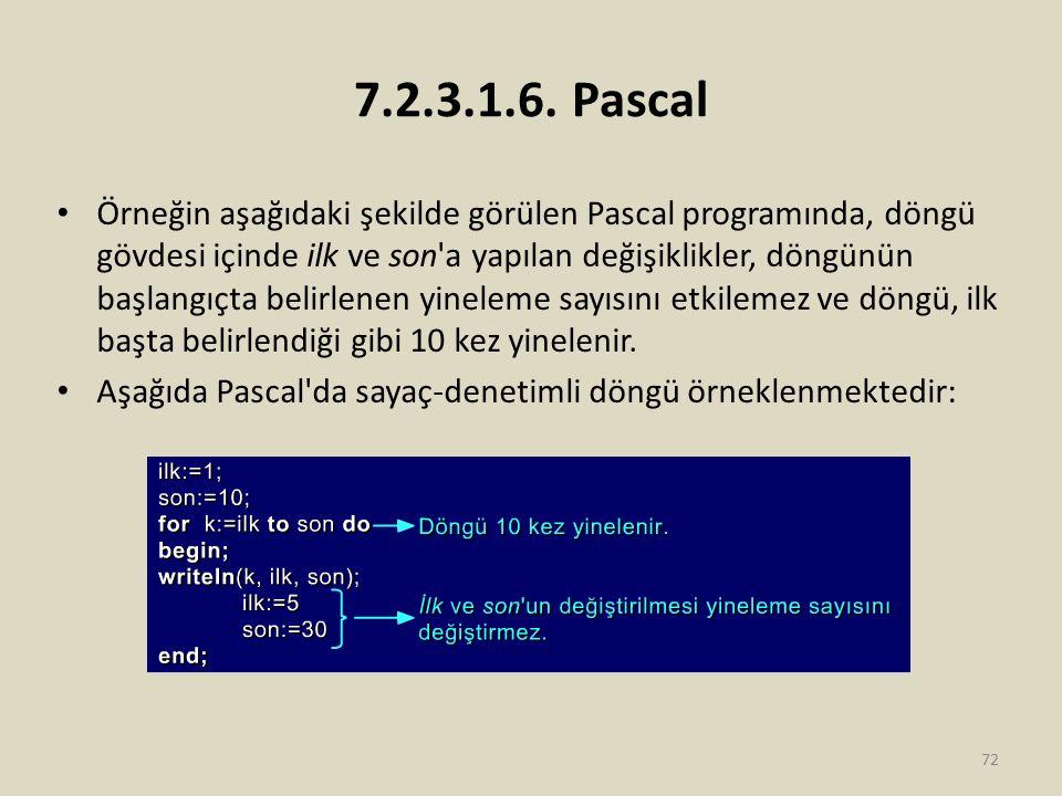 7.2.3.1.6. Pascal Örneğin aşağıdaki şekilde görülen Pascal programında, döngü gövdesi içinde ilk ve son'a yapılan değişiklikler, döngünün başlangıçta
