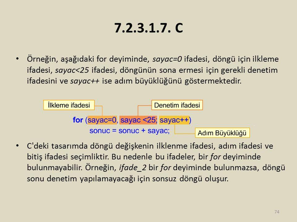 7.2.3.1.7. C Örneğin, aşağıdaki for deyiminde, sayac=0 ifadesi, döngü için ilkleme ifadesi, sayac<25 ifadesi, döngünün sona ermesi için gerekli deneti
