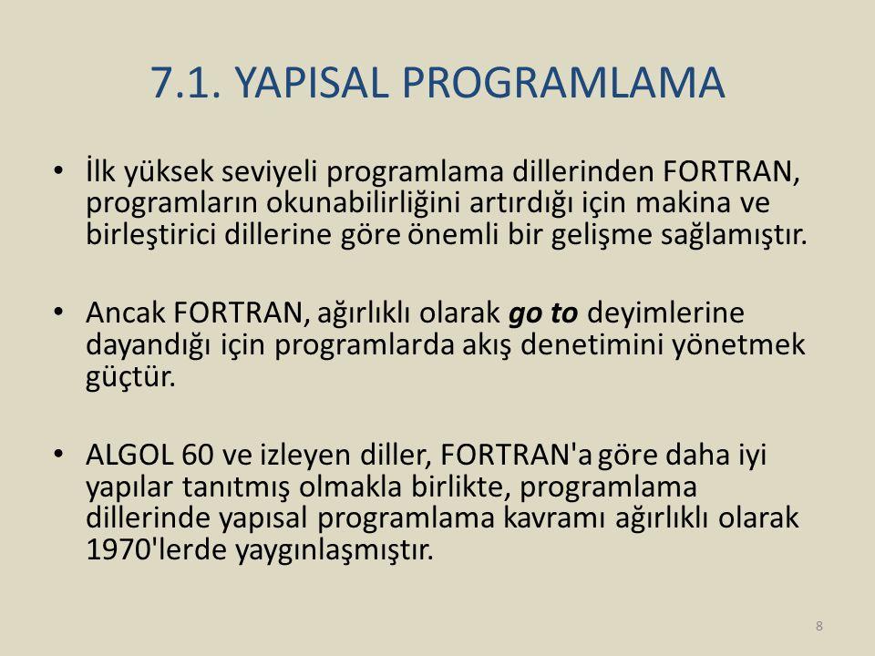 7.1. YAPISAL PROGRAMLAMA İlk yüksek seviyeli programlama dillerinden FORTRAN, programların okunabilirliğini artırdığı için makina ve birleştirici dill