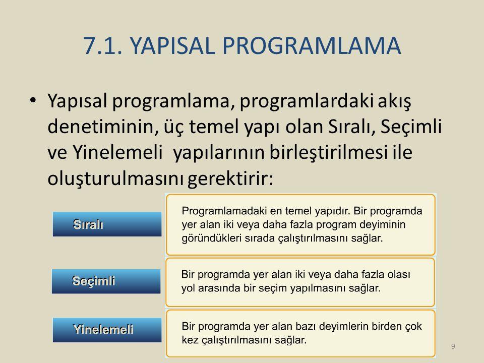 7.1. YAPISAL PROGRAMLAMA Yapısal programlama, programlardaki akış denetiminin, üç temel yapı olan Sıralı, Seçimli ve Yinelemeli yapılarının birleştiri