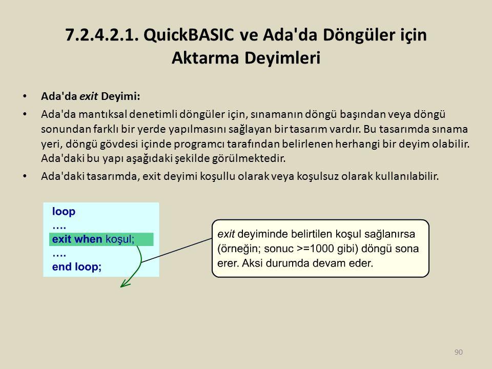 7.2.4.2.1. QuickBASIC ve Ada'da Döngüler için Aktarma Deyimleri Ada'da exit Deyimi: Ada'da mantıksal denetimli döngüler için, sınamanın döngü başından