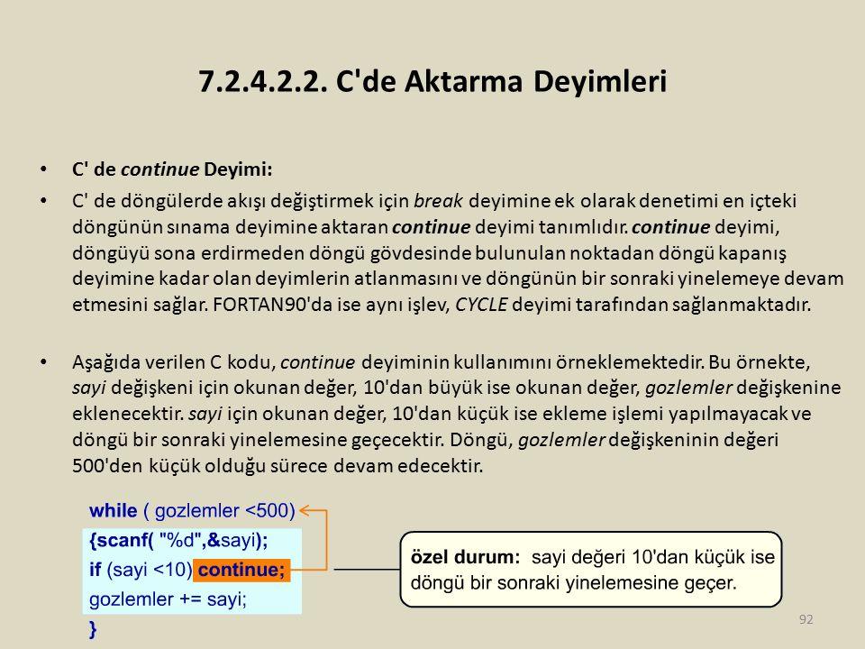 7.2.4.2.2. C'de Aktarma Deyimleri C' de continue Deyimi: C' de döngülerde akışı değiştirmek için break deyimine ek olarak denetimi en içteki döngünün
