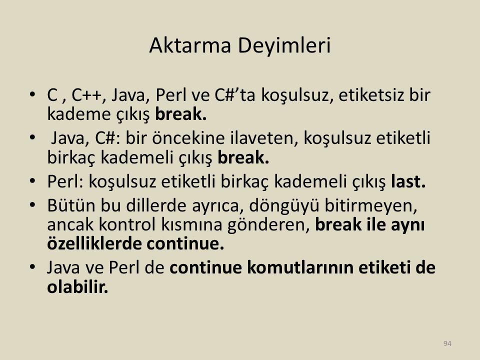 Aktarma Deyimleri C, C++, Java, Perl ve C#'ta koşulsuz, etiketsiz bir kademe çıkış break. Java, C#: bir öncekine ilaveten, koşulsuz etiketli birkaç ka