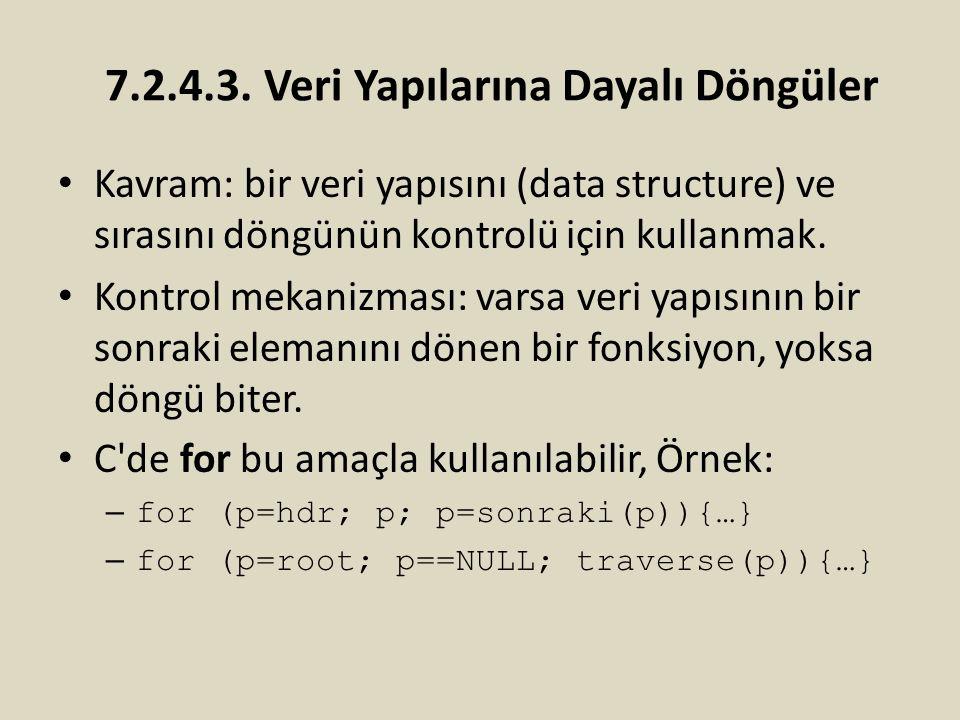 7.2.4.3. Veri Yapılarına Dayalı Döngüler Kavram: bir veri yapısını (data structure) ve sırasını döngünün kontrolü için kullanmak. Kontrol mekanizması:
