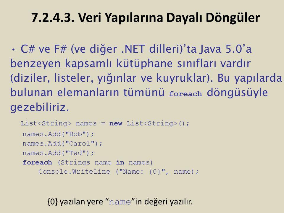 C# ve F# (ve diğer.NET dilleri)'ta Java 5.0'a benzeyen kapsamlı kütüphane sınıfları vardır (diziler, listeler, yığınlar ve kuyruklar). Bu yapılarda bu