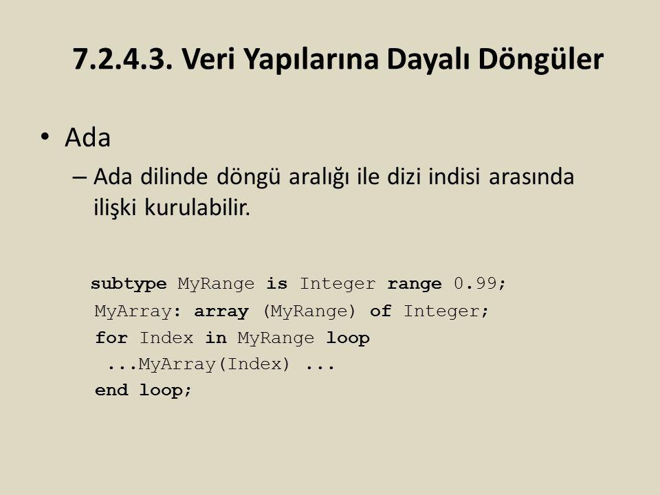Ada – Ada dilinde döngü aralığı ile dizi indisi arasında ilişki kurulabilir. subtype MyRange is Integer range 0.99; MyArray: array (MyRange) of Intege